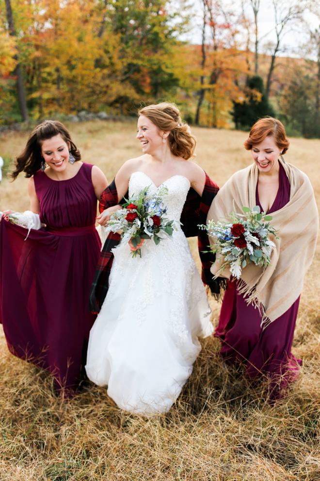 Marron bridesmaids with their winter bride!
