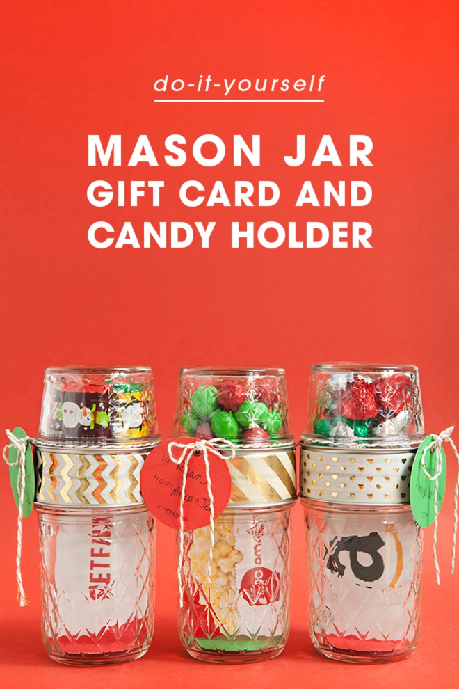 Make your own double mason jar gift card holders awesome diy gift card gift wrap idea glue to mason jars together solutioingenieria