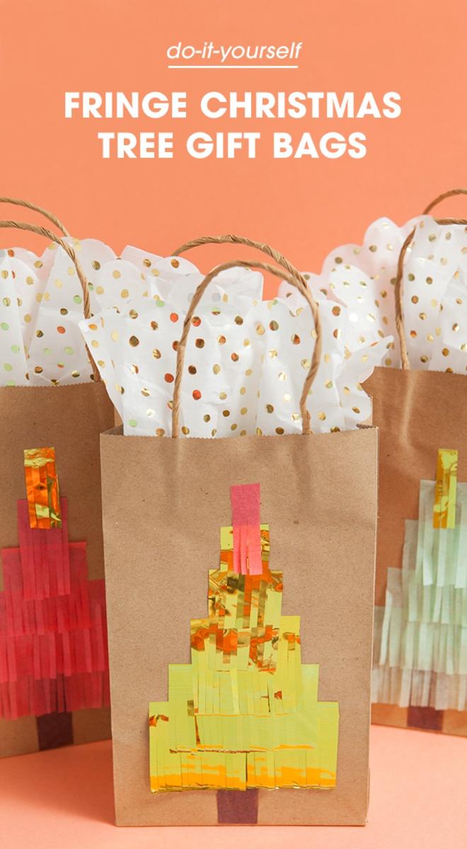 Darling idea for DIY fringe Christmas tree gift bags!
