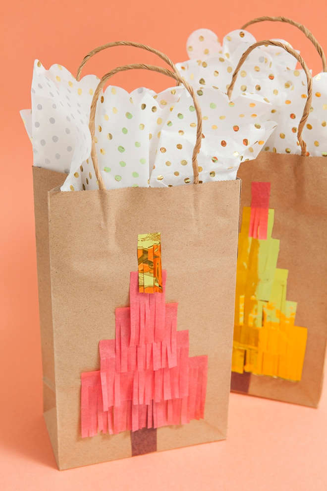 Diy christmas gift bags from shopping bags