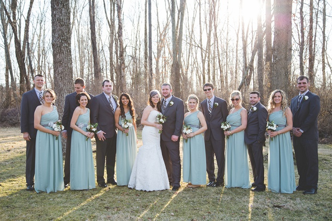 Bridal party at darling DIY winter wedding!