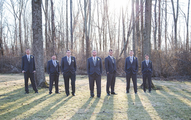 Groomsmen at rustic winter wedding!