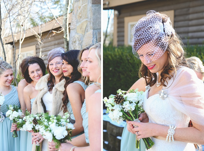 Bride and her Bridesmaids on her darling winter wedding day!