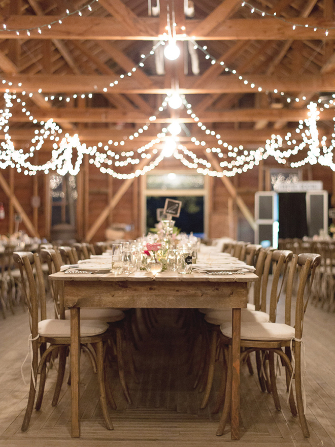 Gorgeous, wooden farm tables for a rustic chic wedding!