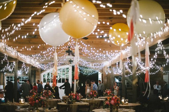 Lights and balloons make for whimsical wedding decor!