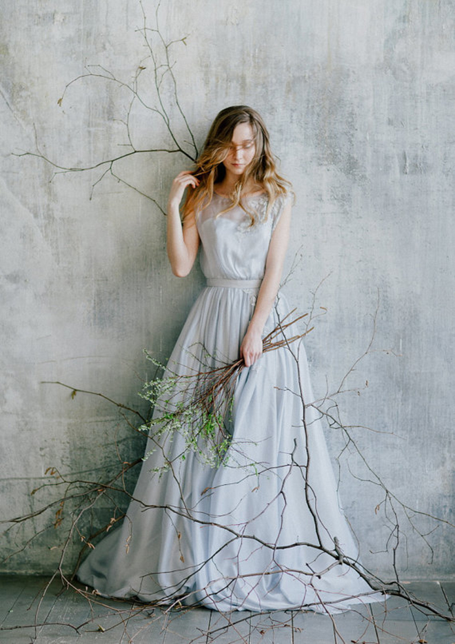 Stunning pale blue wedding dress from Cathy Telle on Etsy!