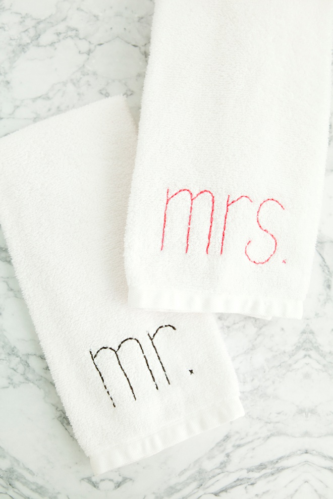 DIY embroidered Mr and Mrs hand towel gifts!
