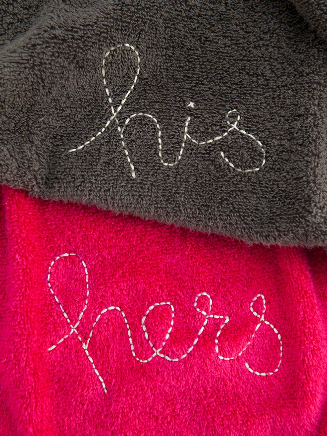 DIY embroidered His and Hers hand towel gifts!