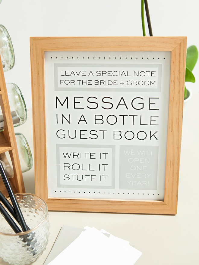 Check Out This DIY Message In A Bottle Guest Book! cd04138eba5a
