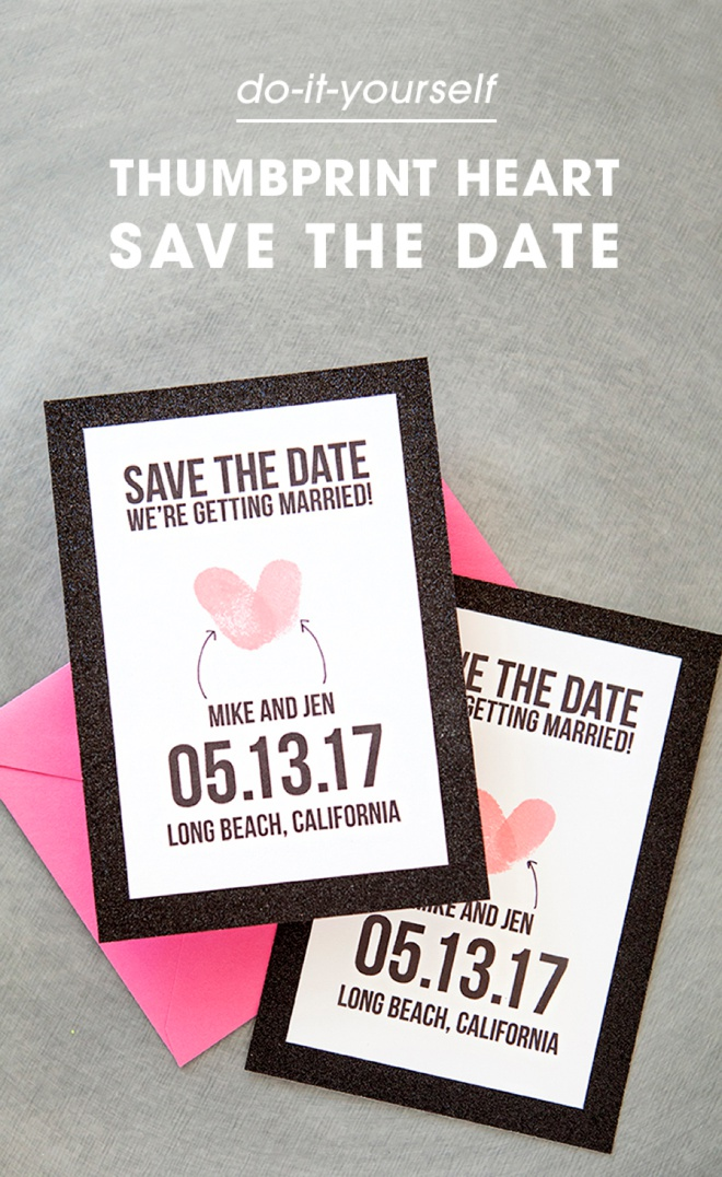 Make your own thumbprint heart save the dates adorable free save the date invitations using thumbprints junglespirit Gallery