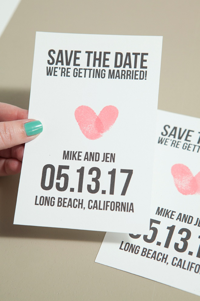 Thumbprint Heart Save The Dates