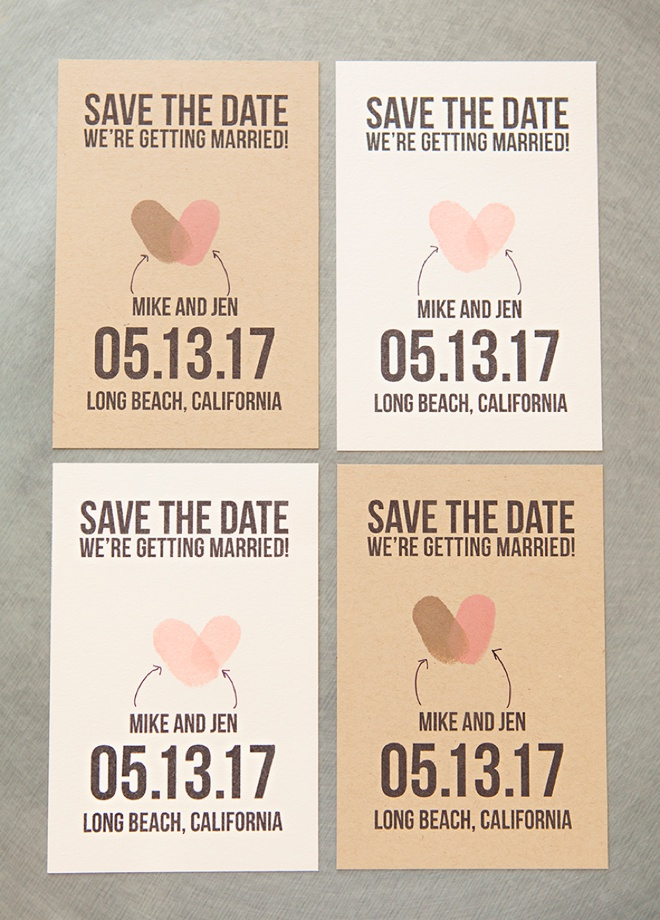 make your own thumbprint heart save the dates