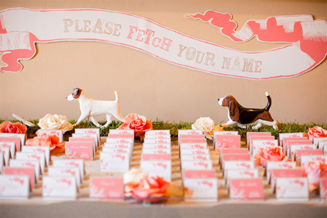 Pet themed escort card display!