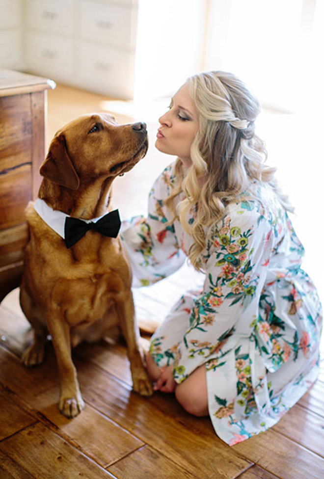 Bride getting ready with her dog!