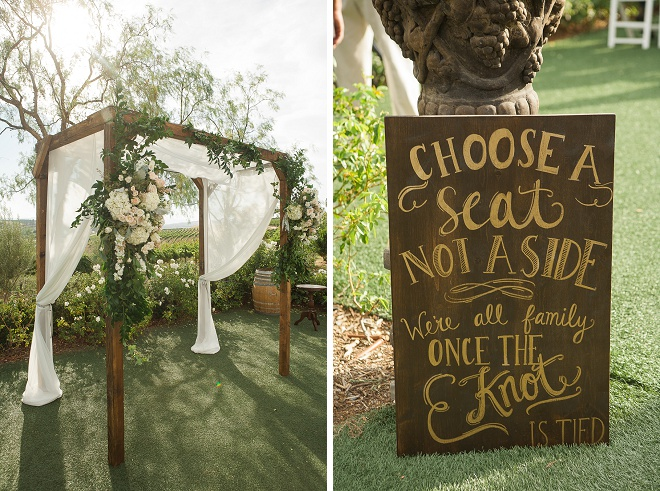 We're loving this gorgeous handmade alter and sign!
