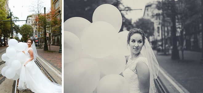 Obsessed with these gorgeous bride photos with white balloons! Swoon!