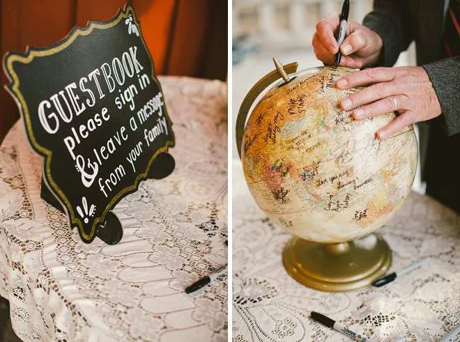 We're loving this fun globe guest book!