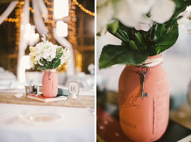 Loving these mason jar centerpieces!