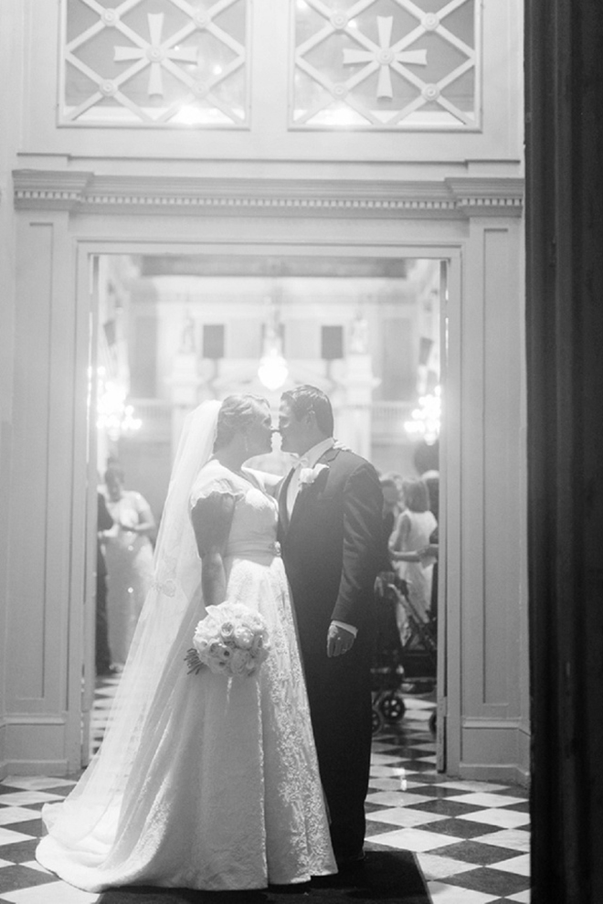Gorgeous black and white, bride and groom portrait!