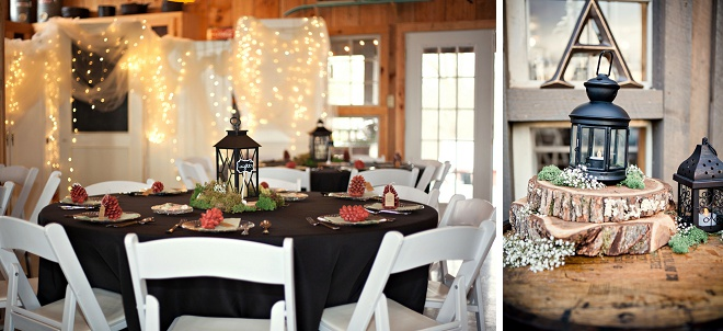 How gorgeous is this winter barn wedding reception?!