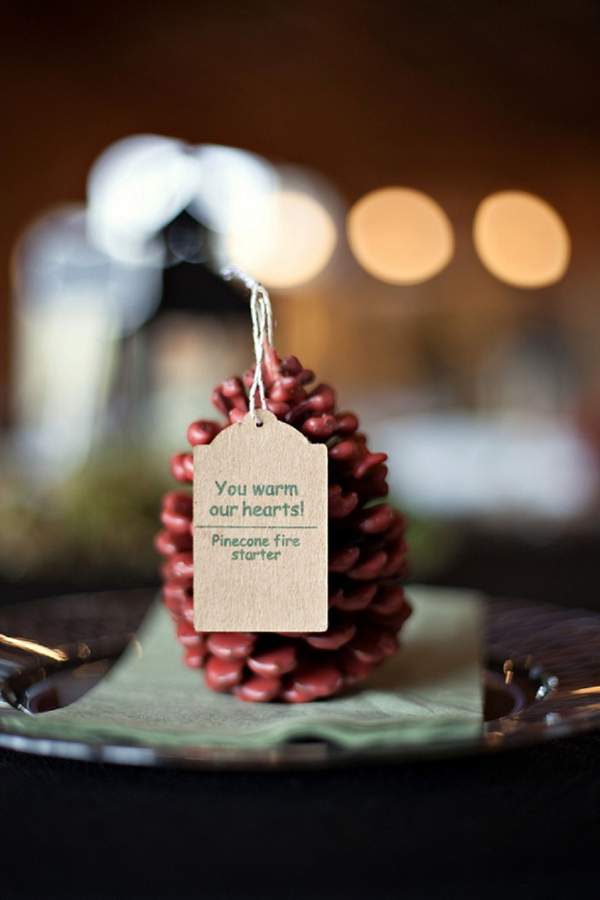 Loving these pinecone fire starter DIY favors!