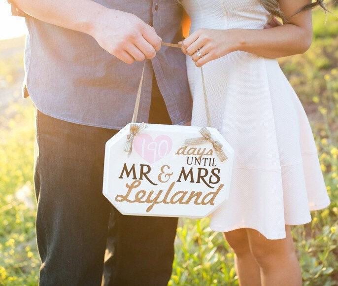 Adorable Wedding Countdown Chalkboard Sign, awesome bride-to-be gift!