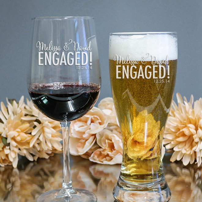 Engraved engaged wine and beer glasses, awesome bride-to-be gift!