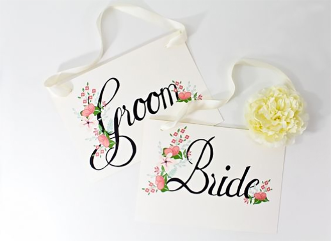 Printable bride and groom signs