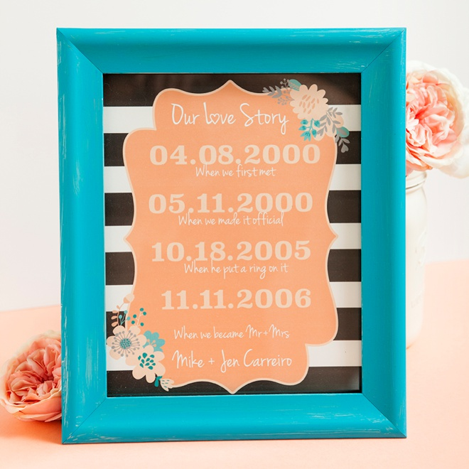 DIY Love story sign... edit and print with your special dates!