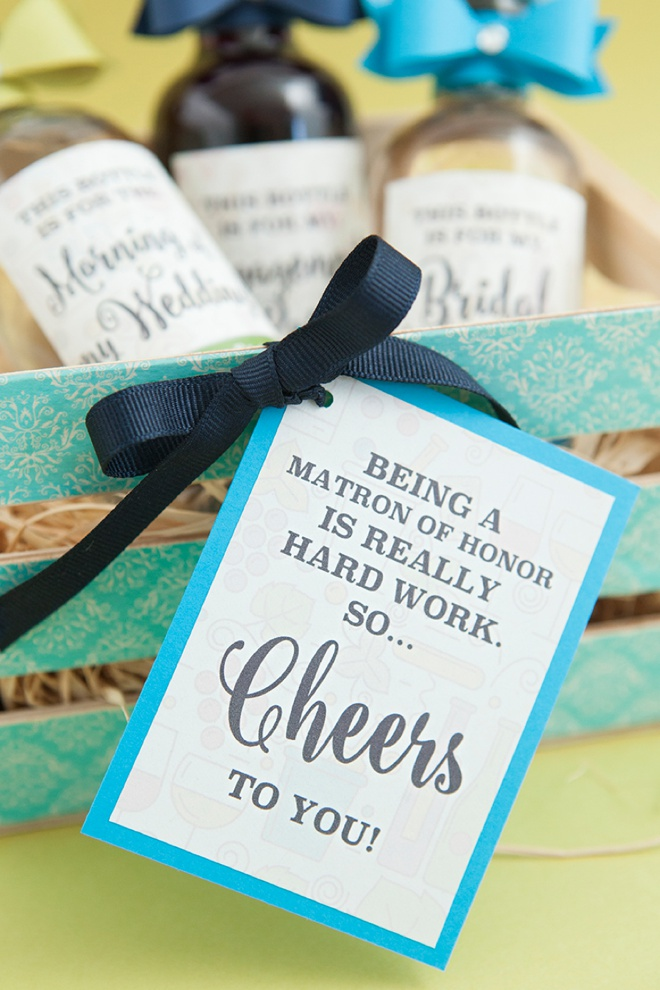 Easy DIY idea on how to make your bridesmaids these darling mini-crate gifts of mini-wine bottles!