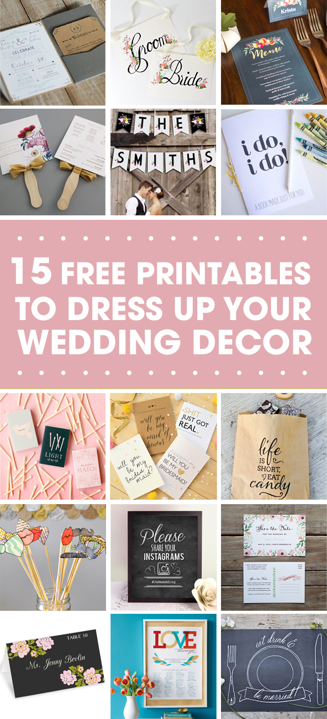 15 FREE Wedding Printables