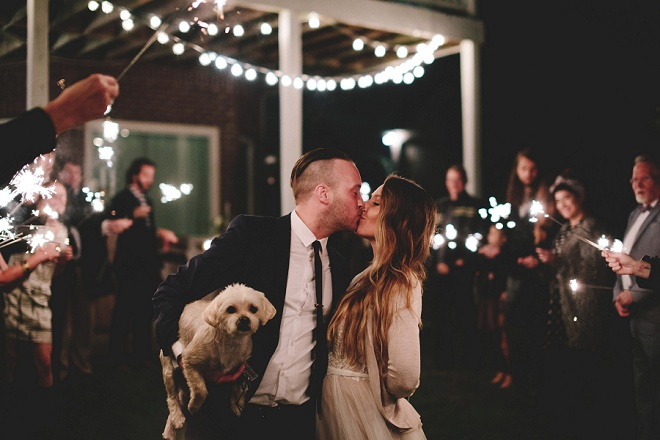 How gorgeous is this sparkler exit photo! We love this fun DIY couple and pup!