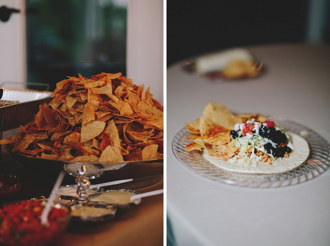 Delicious taco bar at this fun backyard wedding!