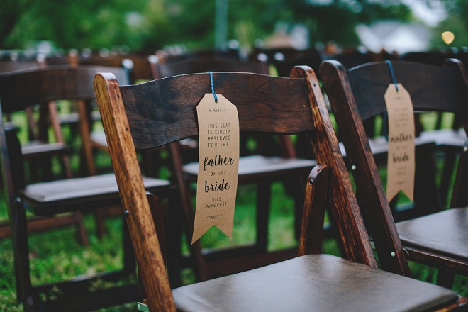 DIY wedding ceremony reserved chair tags! Great idea!
