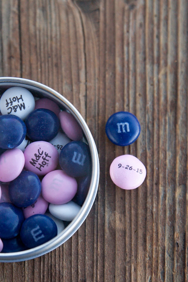 How fun are these personalized wedding M&M's?! Love!