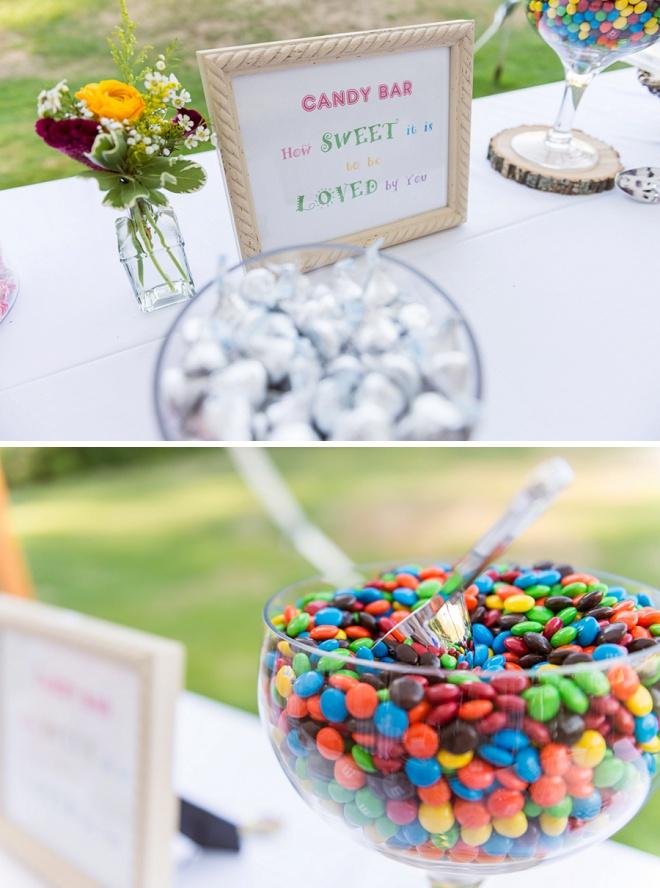 We're loving this sweet wedding candy bar!