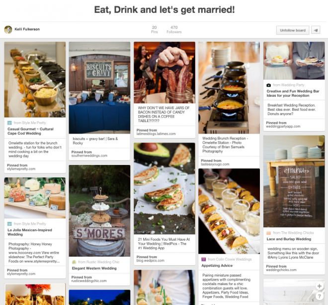 Wedding cuisine Pinterest board
