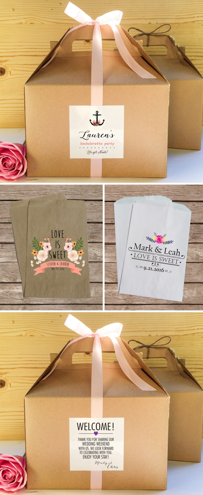 I love these custom favor bags and gable boxes by Creative Party Design on Etsy!