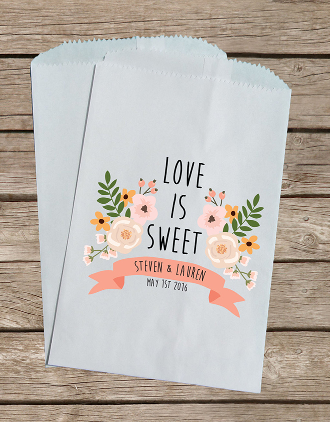 Darling Love is Sweet, custom treat bags from Creative Party Design via Etsy!