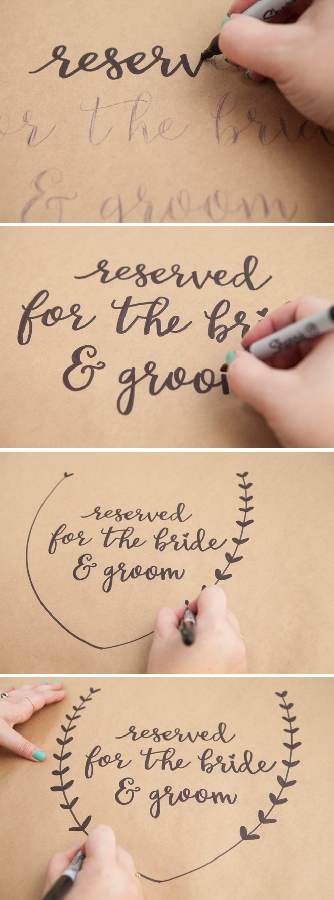 Awesome Diy Idea For Using A Sharpie On Kraft Paper Wedding Table Signage And Decor