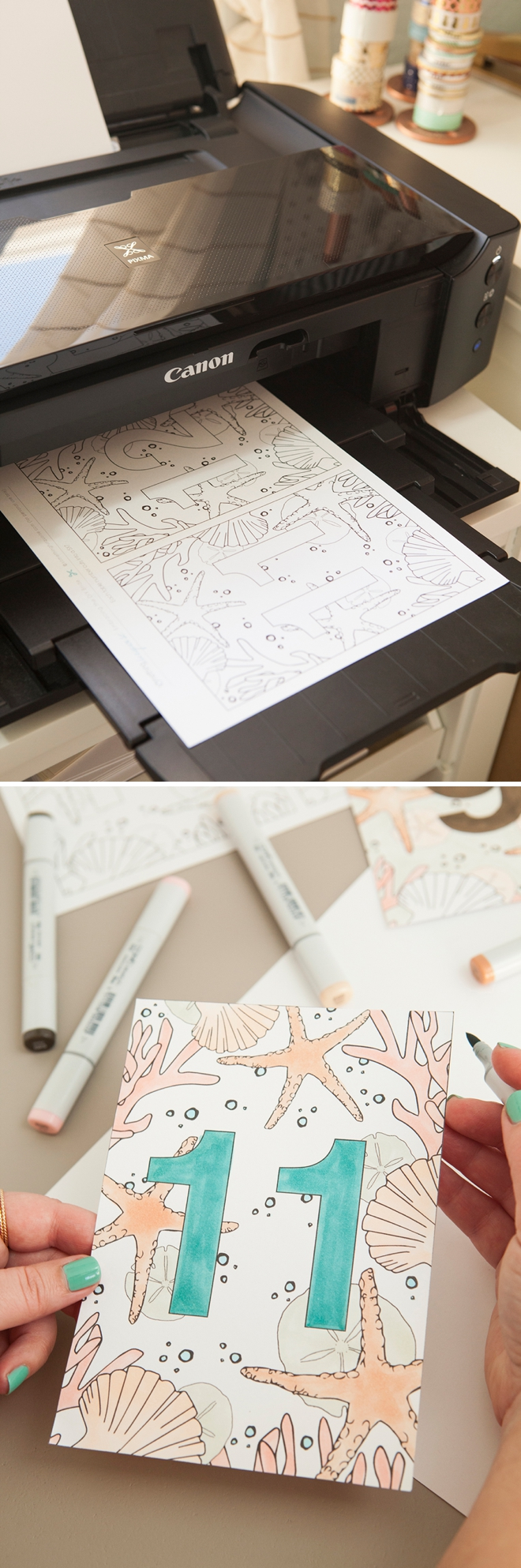 Darling free printable, beach wedding table numbers that you can color!
