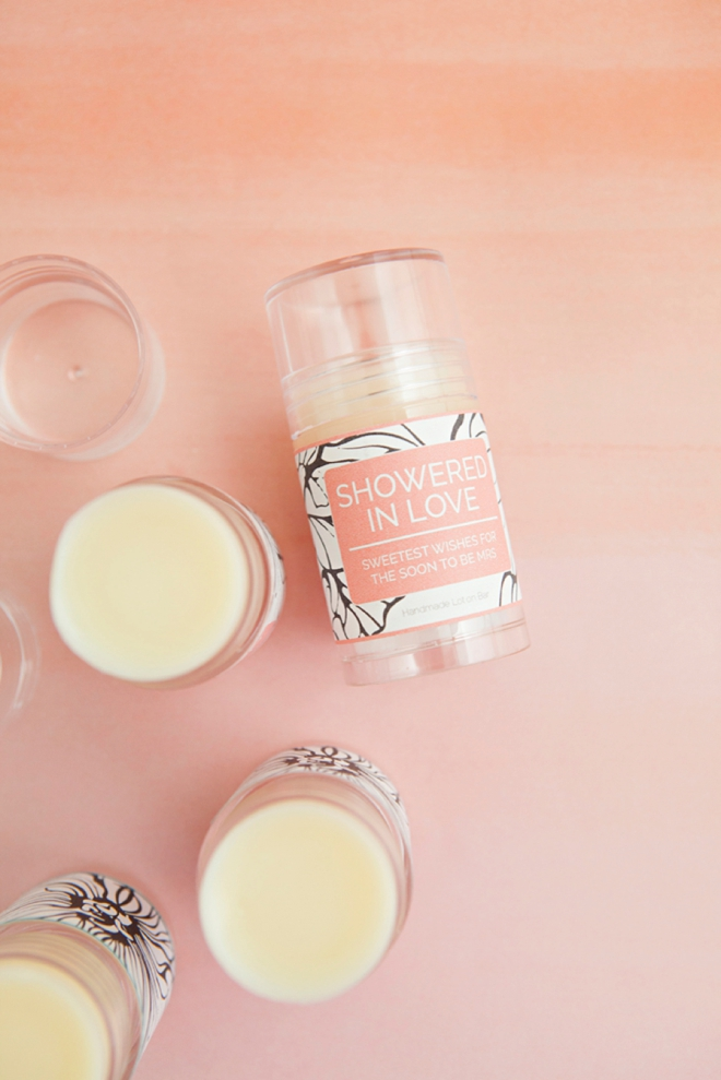 DIY Push-pop Lotion Bars, with free printable bridal shower label!