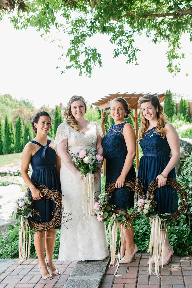 We love this gorgeous Bride and her Bridesmaids! LOVING their creative bouquet wreaths!!