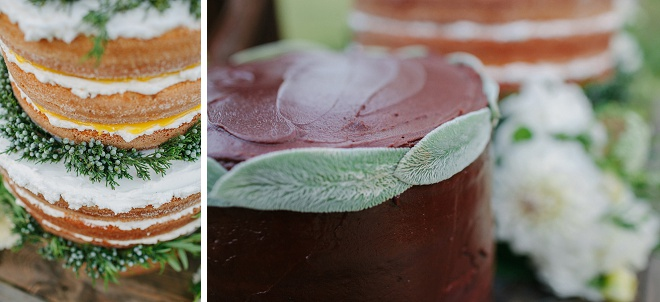We love the details on this naked wedding cake and groom's cake!