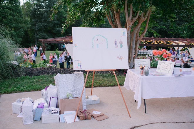 We love this darling backyard wedding and paint yourself guest book detail!