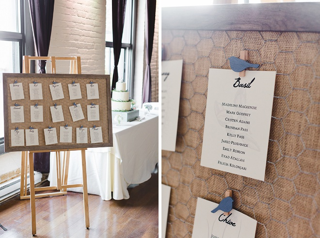 Darling escort cards for the reception!