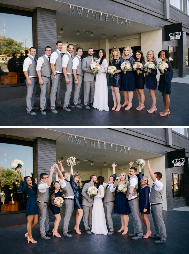 We're loving this fun wedding party at this modern DIY wedding!
