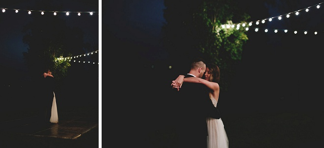 How gorgeous is this backyard reception and twinkle lit first dance? Swoon!