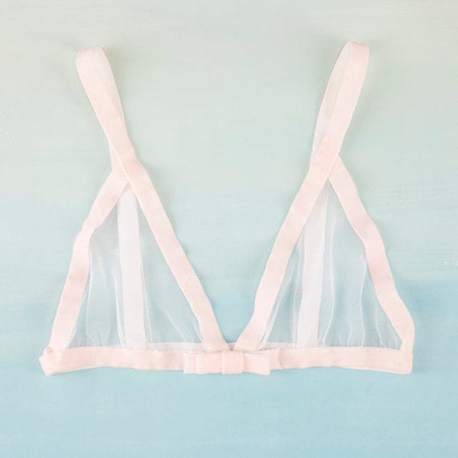Blush Velvet Triangle Bralette with Bow by Married & Bright