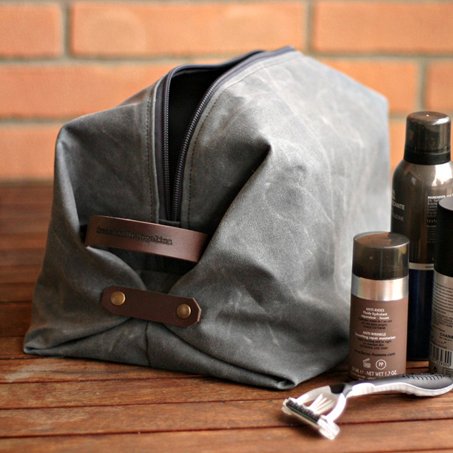 Waxed Canvas Toiletry Bag by Creazioni di Angelina